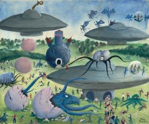 Tim Burton, Saucer and Aliens, um 1972–1974, Öl und Acryl auf Leinwand, 61 x 76,2 cm, Privatsammlung © 2015 Tim Burton, All Rights Reserved
