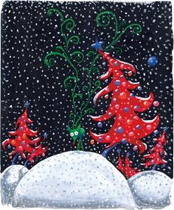 Tim Burton, Ohne Titel (Reindeer in Snow), um 1994–1999, Acryl, Öl und Pastell auf Papier, 43,2 x 35,6 cm, Privatsammlung © 2015 Tim Burton, All Rights Reserved