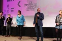 Gutgelaunt: Festivalbetreiber Birgit Horn und Michael Orth auf der Preisverleihung