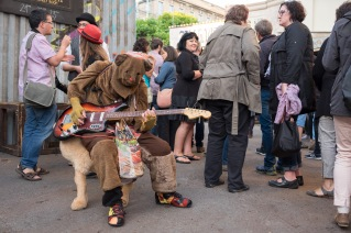 Musiker auf Wüstentier